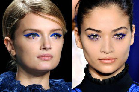 Kobaltowe makijaże z wybiegów