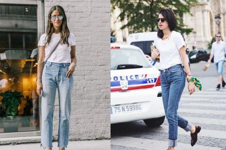 Biały t-shirt i jeansy: stylowy zestaw na lato 2017