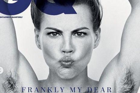 Aktorka z włosami pod pachami i na piersiach na okładce magazynu