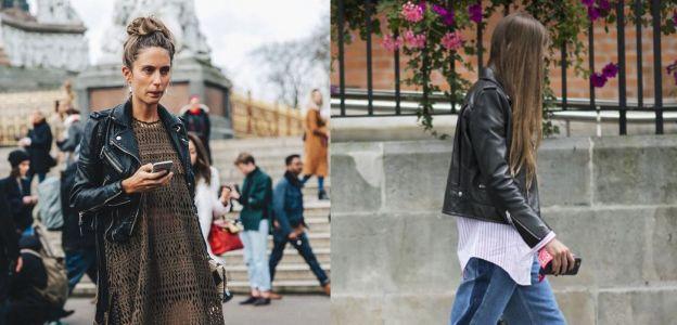 Ramoneska modna skórzana kurtka wiosna 2018