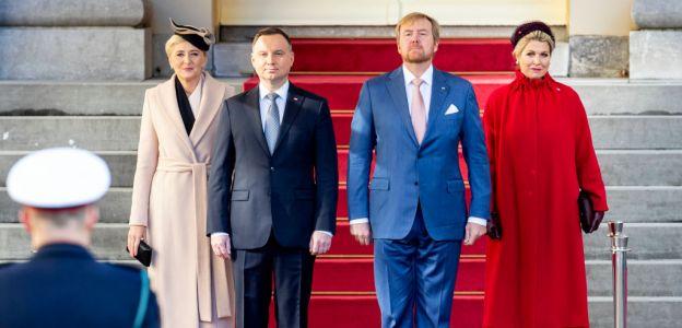 Agata Duda i Andrzej Duda podczas uroczystej wizyty w Holandii