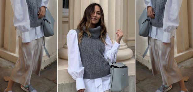 Stylówka z Instagrama - wełniana kamizelka, biała koszula i satynowa spódnica