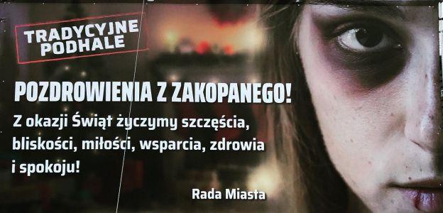 Strajk Kobiet Podhale ruszył z billboardami na temat przemocy domowej