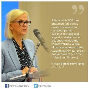 Minister Rodziny, Pracy i Polityki Społecznej Bożena Borys-Szopa