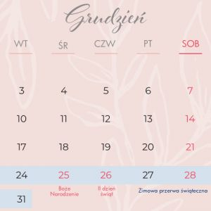Kalendarz na kol szkolny 2019/2020