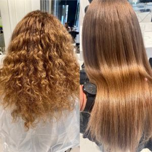 """Brazylijskie prostowanie włosów. Efekt """"przed"""" i """"po"""""""