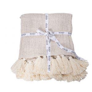Boho Swing naturalny koc z surowej bawełny