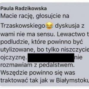 screen z komentarza Pauliny Radzikowskiej