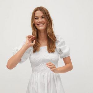 Sukienka Mango na lato 2020 - biała mini z bufkami