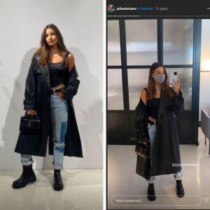 Julia Wieniawa w skórzanym płaszczu na jesień i botkach z CCC
