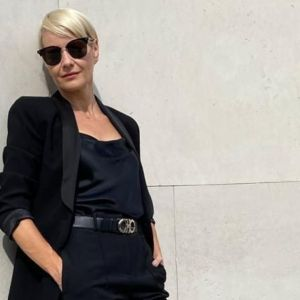 Małgorzata Kożuchowska w modnych półbutach typu oksfordy z sieciówki
