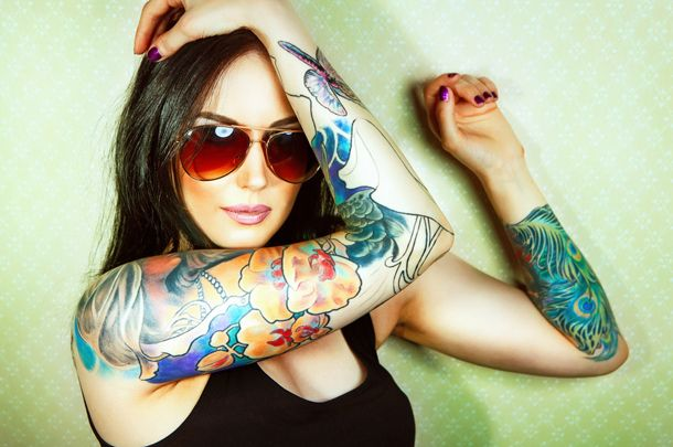 Kolorowe Tatuaże Groźne Kobietapl