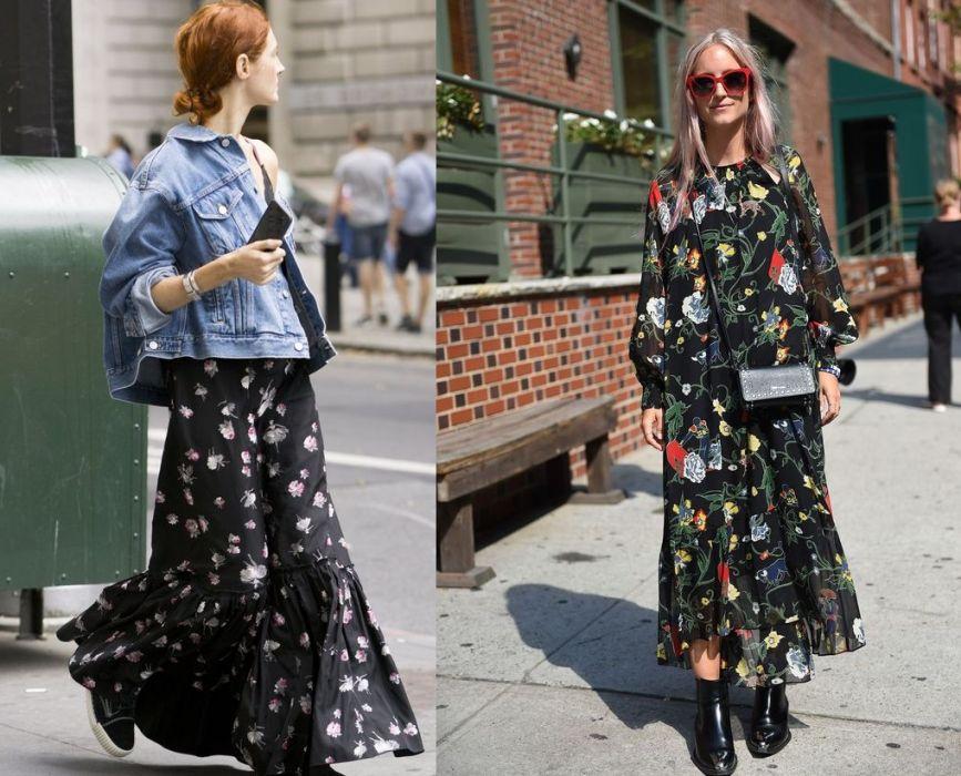 Długie sukienki w kwiaty na jesień 2017: nasze typy