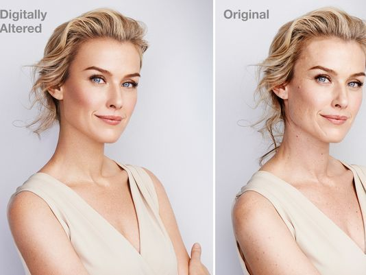 Zdjęcie kobiety przed i po retuszu w Photoshopie