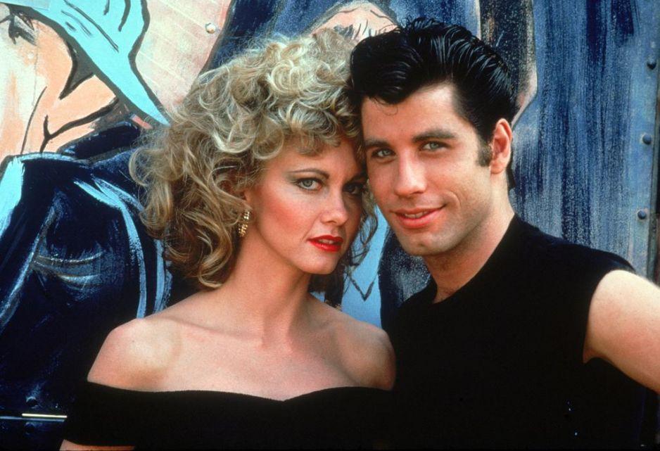 "ohn Travolta i Olivia Newton-John w musicalu ""Grease"""