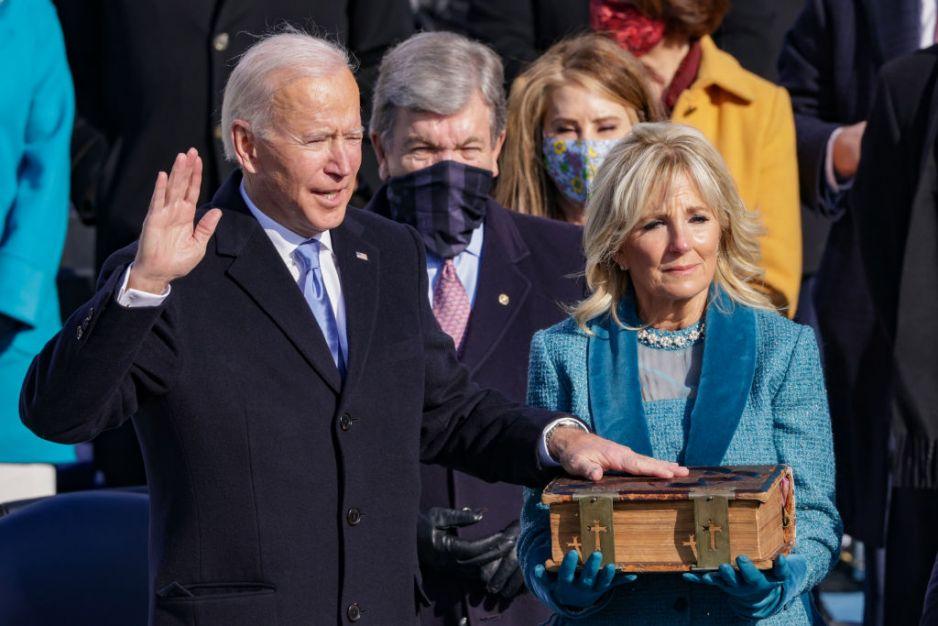 Jill Biden i Joe Biden na zaprzysiężeniu