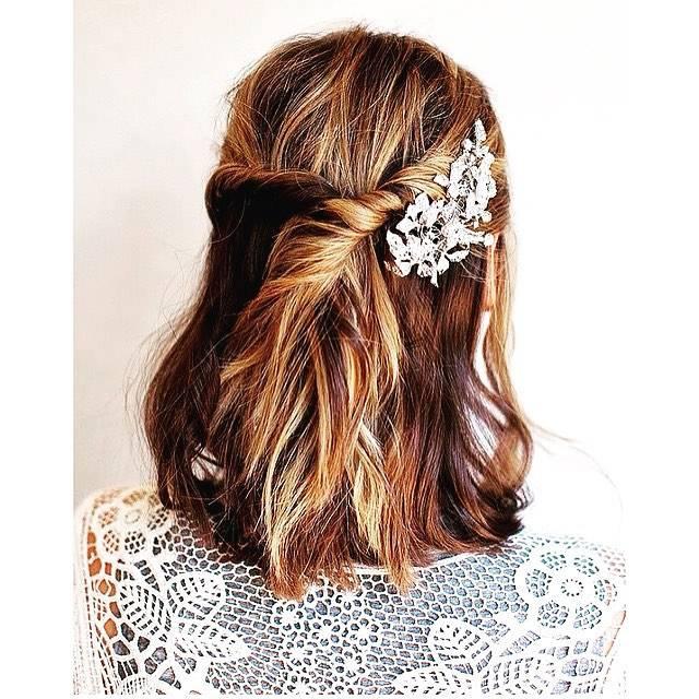 Fryzura ślubna dla krótkich włosów ze spinką - 17 oszałamiających fryzur ślubnych dla KRÓTKICH włosów