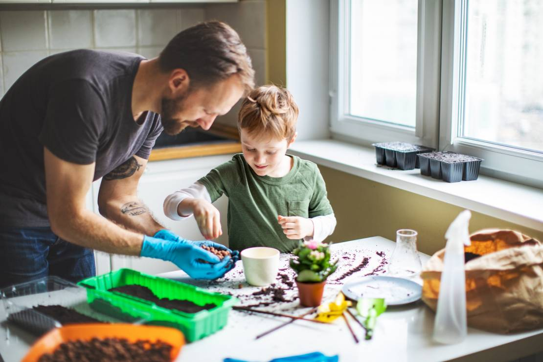 Sadzenie kwiatów - 10 inspirujących pomysłów na zabawy z dziećmi w domu [OKIEM MAMY]